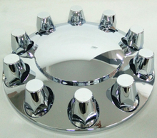 Chrome front axle wheel cover with 33mm removable nut covers